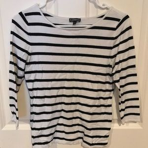 Express Fitted Striped Bateau Neck Sweater